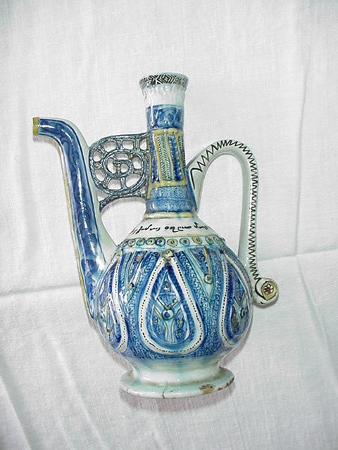 , kutahia pitcher 18th century 11.high armenian inscribed with turkish discription